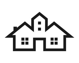 silhouette home house residential architecture image icon vector