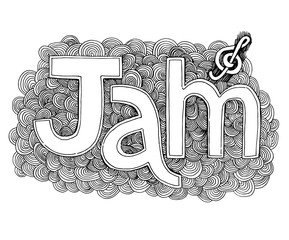 Inscription of jam in a decorative cloud with a treble clef