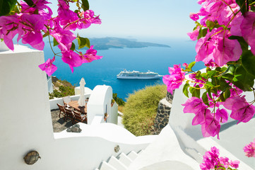 White architecture on Santorini island, Greece. Fototapete