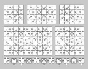 Vector set of various puzzles and jigsaw pieces. 16, 20, 24, 36 and 60 pieces. Vector illustration.
