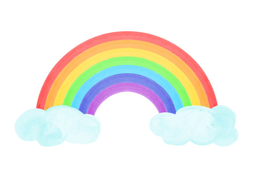 Composition with rainbow and clouds in hand drawn style. Vector illustration.