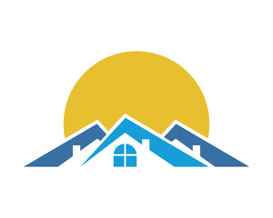 sun behind blue roof tile home house residential architect image icon vector