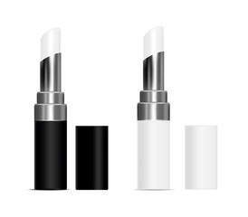 White and black  tubes with white lipstick