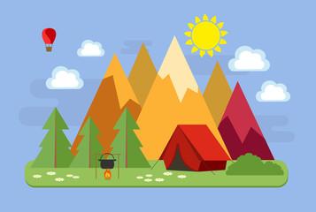 Пейзаж. Горный пейзаж. Туристы отдыхают в палатке.