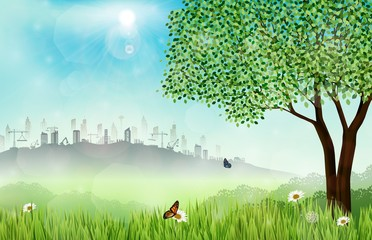 Green meadow background with construction site