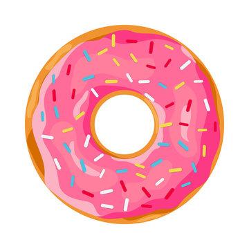 donut with pink glaze.