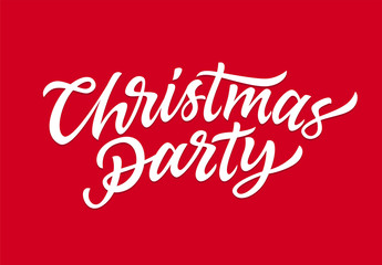 Christmas Party - vector hand drawn brush pen lettering