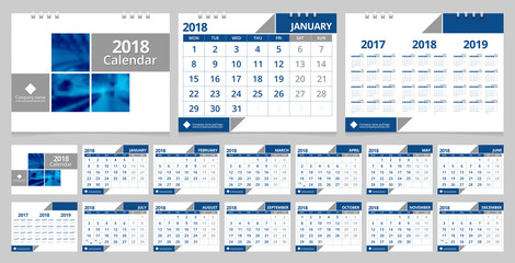 Calendar 2018 template set 12 months,  front cover and back cover. Desk calendar corporate design layout template vector week start on Monday. EPS-10 sample image with Gradient Mesh.