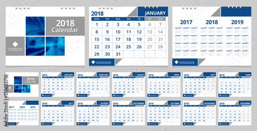 Corporate Calendar 2018 : Quot calendar template set months front cover and