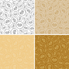 golden seamless patterns with bitcoins - bright vector backgrounds