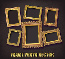 Vintage frame retro decoration corner template design.Gold photo frame with corner line floral for picture, Vector design decoration frame pattern style.frame floral border template illustration