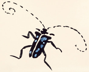 longhorn beetle hand painted on colored paper