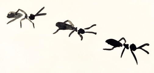 line of ants hand painted on cream colored paper