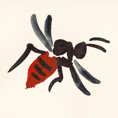 wasp painted on cream colored paper