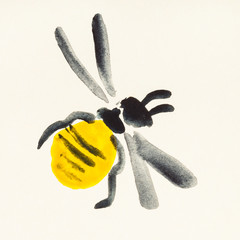 honeybee painted on cream colored paper