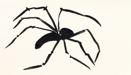 one spider hand painted on cream colored paper