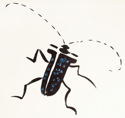 long-horned beetle hand painted on colored paper
