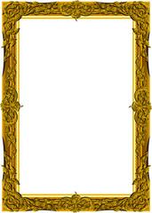 Wall Mural - Vintage frame retro decoration corner template design.Gold photo frame with corner line floral for picture, Vector design decoration frame pattern style.frame floral border template illustration