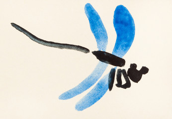 flying dragonfly with blue wings on colored paper