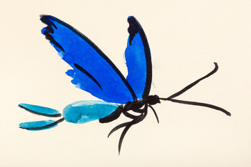 flying butterfly with blue wings on colored pape
