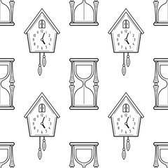 Hourglass And Cuckoo Clock Black White Seamless Pattern For Coloring Books Pages
