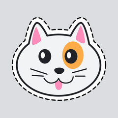 Muzzle of Cat. Cut it out. Icon of Isolated Animal