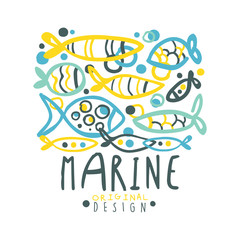 Marine logo design, summer travel and sport hand drawn colorful vector Illustration
