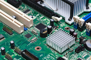 Closeup shot of modern motherboard or videocard