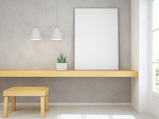 White empty frame mock up on yellow wooden table with concrete wall background, Chair and desk near door in bright room of modern scandinavian house - Home office 3d rendering