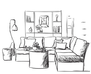 Modern interior sketch. Hand drawing sofa and lamp.