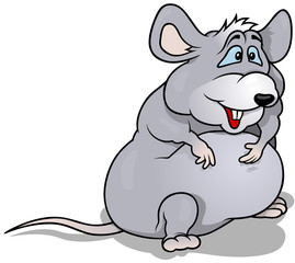 Gray Fatty Standing Mouse - Cartoon Illustration, Vector