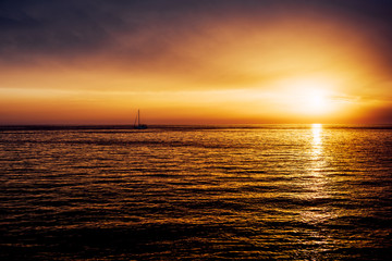 View on sunset at the sea