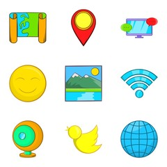 Picture icons set, cartoon style