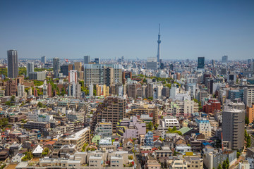 Tokyo. Cityscape image of Tokyo skyline during sunny day in Japan.