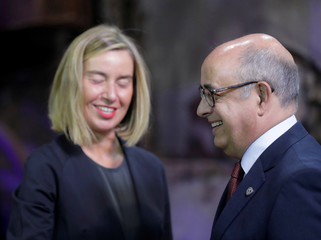European Union Foreign Affairs Chief Mogherini welcomes Portugal's Minister of Defence Lopes during European Union Defence Ministers informal meeting in Tallinn