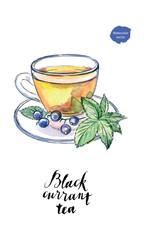 Watercolor glass cup of black currant tea