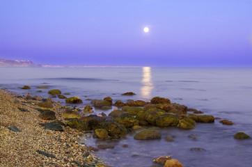 Fotobehang Rivier Luna llena reflejada en el mar