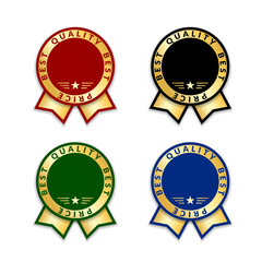 Ribbon award best price labels set. Gold ribbon award icons isolated white background. Best quality golden label for medal, best choice, price, certificate guarantee product Vector illustration