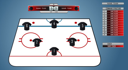 Hockey field with the placement of players. Spare players and scoreboard match. Vector illustration
