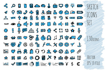 Hand draw doodle business icon set. collection of business icons, sketched elements