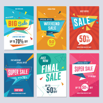 Sale, discount and promotion flyer / banner template. Vector illustration for social media banners, poster, flyer and newsletter designs.
