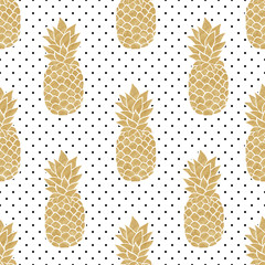 Seamless pattern with gold pineapples on polkadot background. Black white and gold pineapple pattern. Summer tropical background.