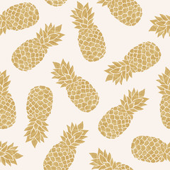 Seamless pattern with gold pineapples. Summer tropical background