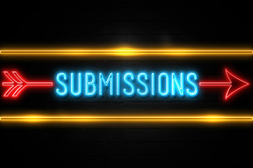 Submissions  - fluorescent Neon Sign on brickwall Front view