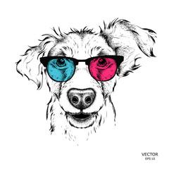 Foto op Canvas Hand getrokken schets van dieren Portrait of the pug in the colored glasses. Vector illustration.