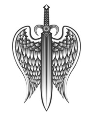 Sword with wings Tattoo