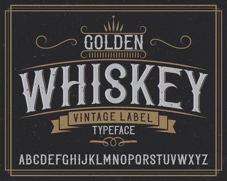 "Vintage label typeface named ""Tennessee Whiskey""."