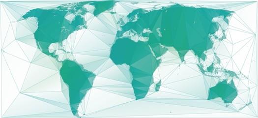 Spoed Foto op Canvas Wereldkaart Polygonal world map