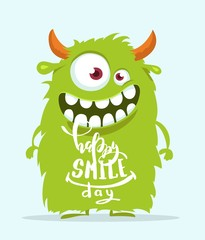 Funny cartoon monster. Happy smile day cute design. Vector illustration