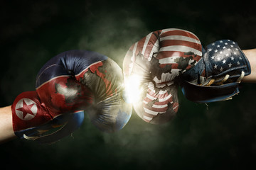 Political Crisis between USA and North Korea symbolized with Boxing Gloves